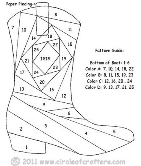 Iris Paper Folding Patterns For Free - iris folding circleofcrafters cowboy boot pattern