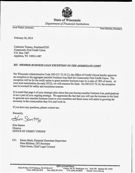 Letter Of Credit Loan Keith Leggett S Credit Union Community Cu S Mbl Exception