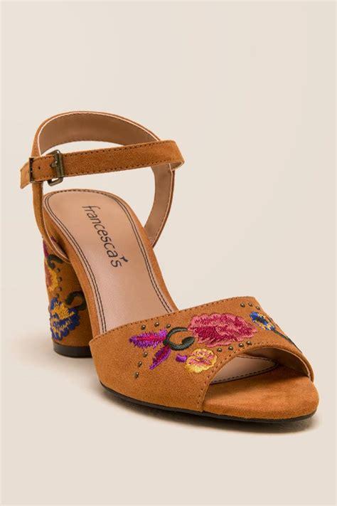 Wedges Wanita Heels cognac wanita embroidered block heel s