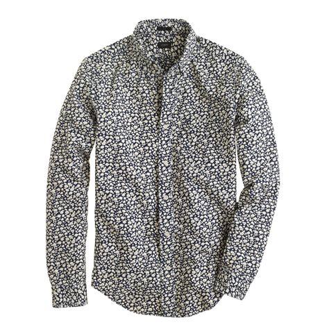 floral pattern shirt mens j crew slim indigo floral print shirt in blue for men