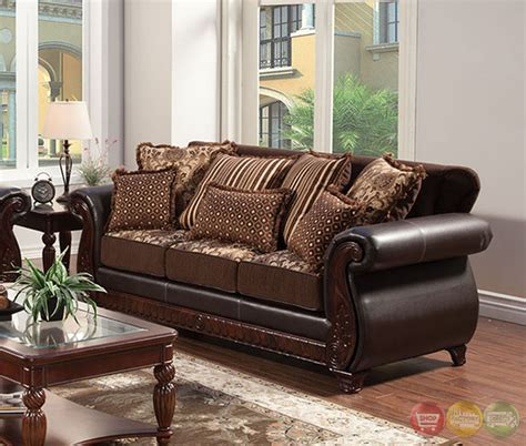 Brown Living Room Sets Franklin Traditional Brown Living Room Set With Pillows Sm6106