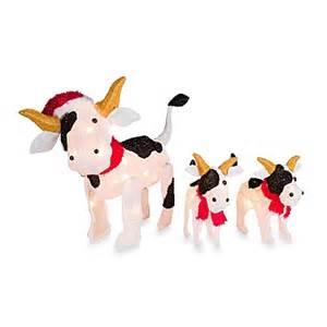 pre lit christmas cow family yard art set of 3 bed bath