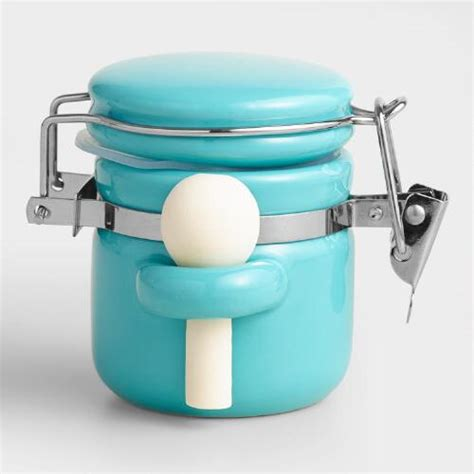 Aqua Kitchen Canisters by Mini Aqua Ceramic Canisters With Spoons Set Of 6 World