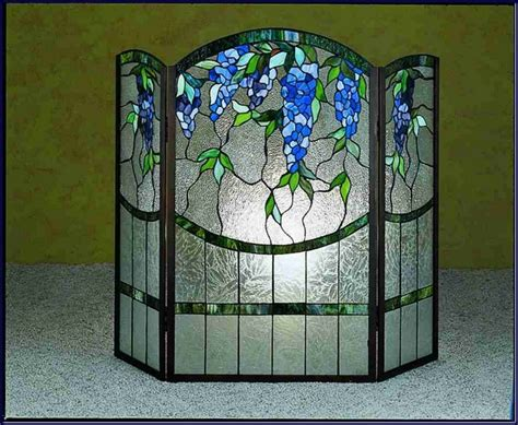 Retro Stained Glass Fireplace Screen Ideas Advice For Stained Glass Fireplace Doors