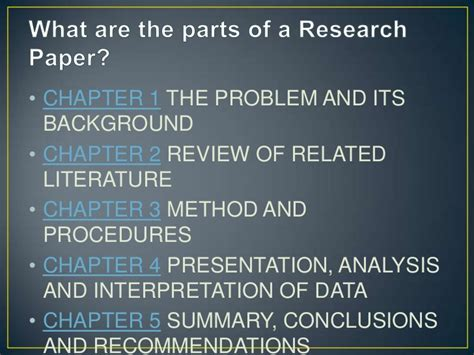 parts of a research paper research paper chapter 5 parts two types of formal