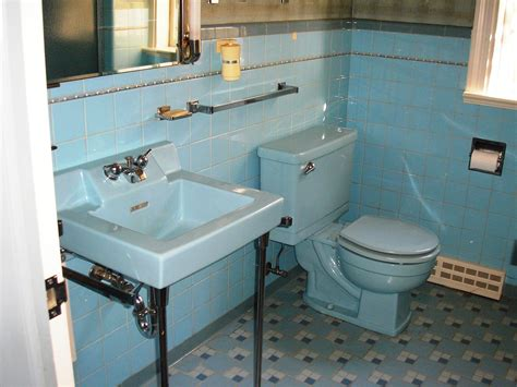 blue bathtub replicating alice s blue 50s bathroom tile floor retro renovation
