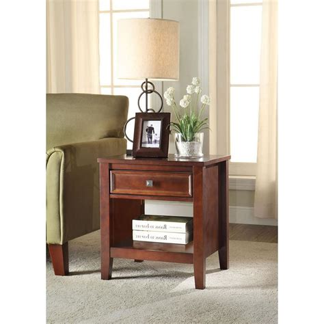 cherry home decor linon home decor wander cherry storage end table 770000chy01u the home depot