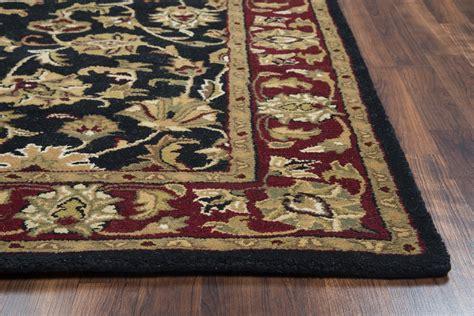 black patterned runner volare ornate vine pattern wool runner rug in black