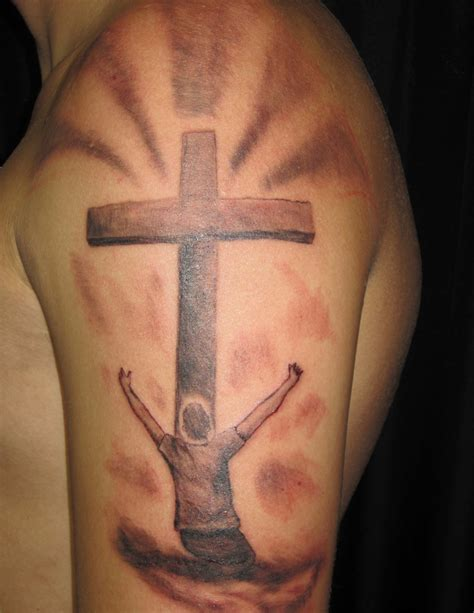 cross arm tattoos cross arm mens religious