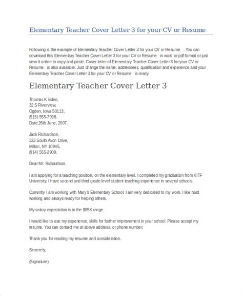 Teacher Cover Letter Example   9  Free word, PDF Documents