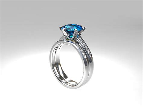 Blue Topaz Set Ring swiss blue topaz engagement ring set wedding ring