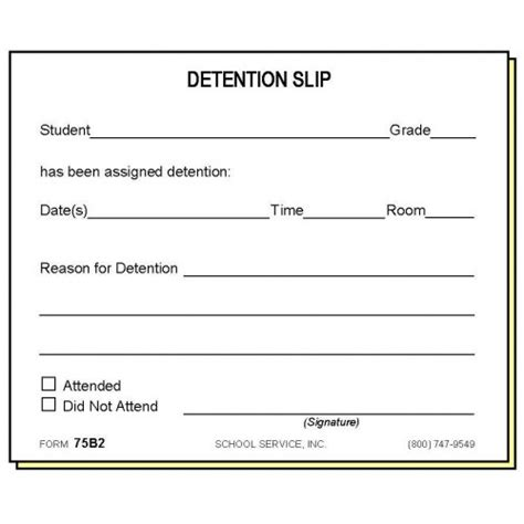 detention notice template 75b2 two part detention slip carbonless forms