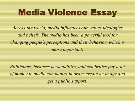 And Violence In The Media Essays by Essay Outline On Media Violence Essayhelp308 Web Fc2