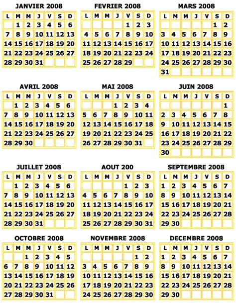 Le Calendrier In Imprimer Le Calendrier Mural 2008 Jaune Calendrier