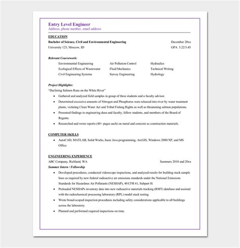 sle resume entry level civil engineer 28 images sle