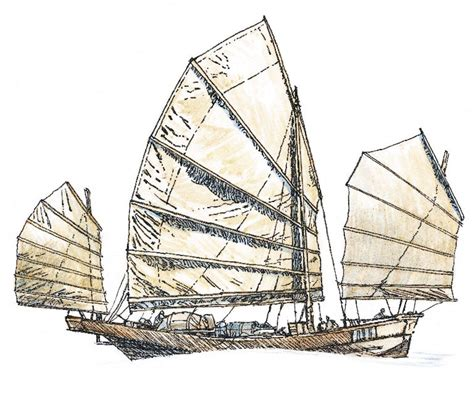how to draw a chinese junk boat early sailing ships