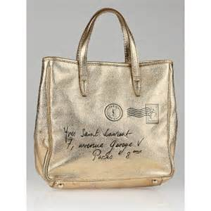 Yves Laurent Y Mail Tote Purses Designer Handbags And Reviews At The Purse Page by Yves Laurent Gold Leather Y Mail Small Tote Bag