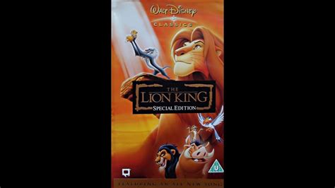 lion film opening opening to the lion king special edition uk vhs 2003