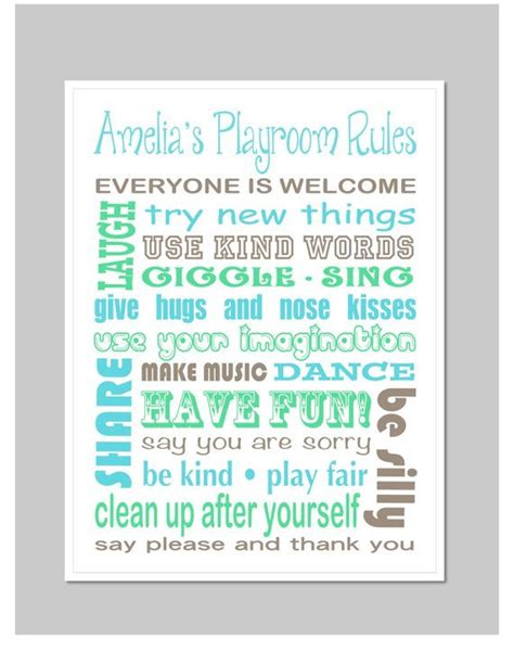 free printable playroom wall art personalized playroom rules poster playroom wall art