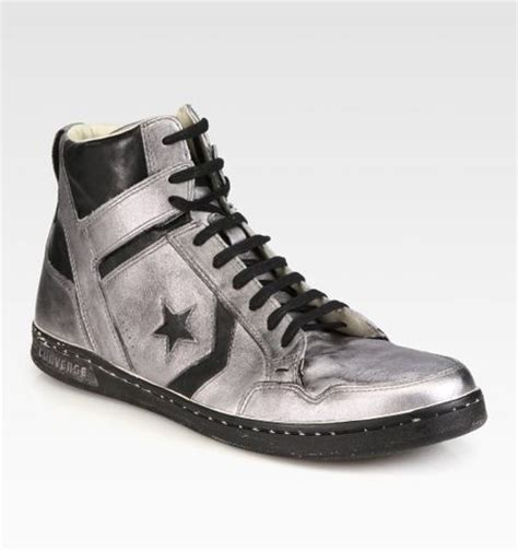 converse silver sneakers converse silver midtop leather sneakers in black for