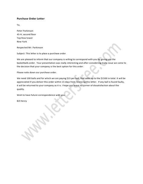 purchase order letter order letter purchase order