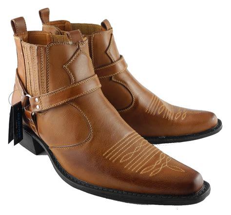 mens us brass leather look cowboy western hi ankle
