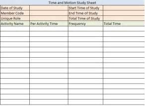Time Motion Study Template by Doc 585670 Time Study Template Sle Time Study