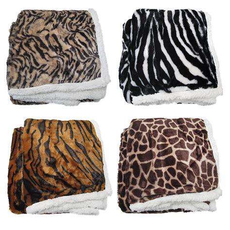 zebra fur rug leopard zebra tiger giraffe luxurious faux fur reversible throw blanket rug ebay