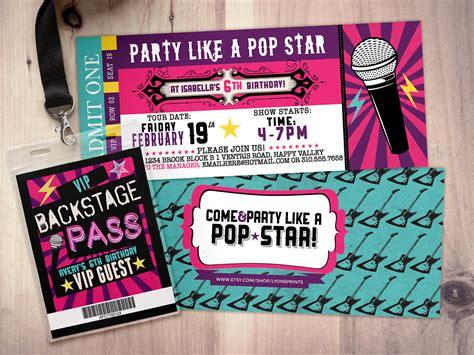 printable pop star party invitations pop star rock star concert ticket birthday party