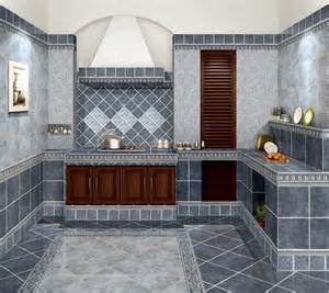 Grey tile view of kitchen