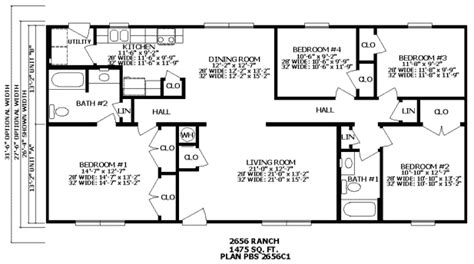 2 Bedroom 2 Bath Ranch House Plans by Four Bedroom Ranch House Plans