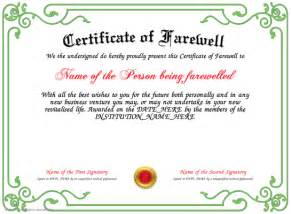 Farewell Certificate Template by Certificate Of Farewell
