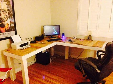 Diy L Shaped Computer Desk Diy Pallet L Shaped Computer Desk Pallet Furniture Plans