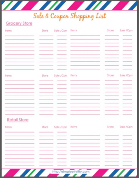 printable shopping list with coupons printable shopping list budget meal planning simplee