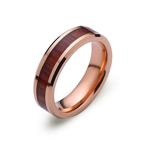 koa wood wedding ring gold tungsten band hawaiian