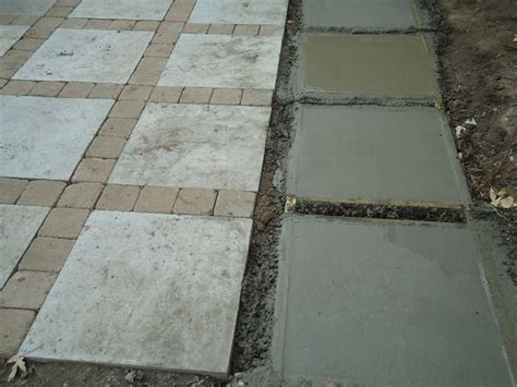 patio project poured 2 x 2 concrete squares and put