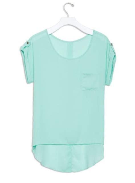 Adliya Dress Plain Series Green blouse teel teal blue seafoam green chiffon sheer