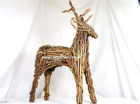 wicker christmas decor outdoor indoor willow wicker reindeer display garden or home 15 quot ebay