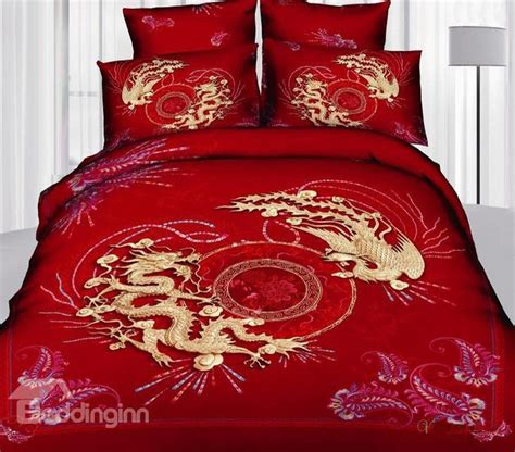 dragon bed set dragon print 4 piece cotton wedding bedding sets