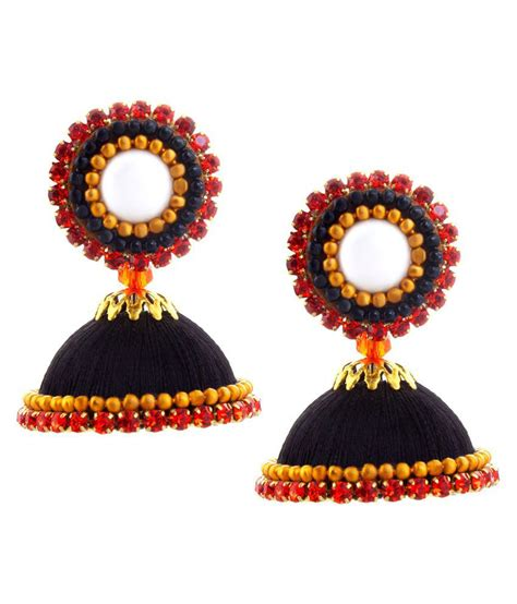 Handmade Threads - halowishes handmade silk thread work black jhumki buy