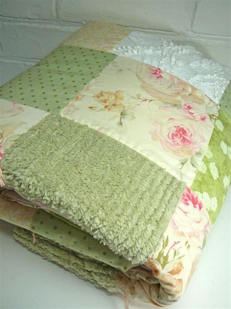 Mukena Shabby Strippy Green chenille baby quilt toddler quilt shabby chic quilt patchwork quilt ralph fabric chenille