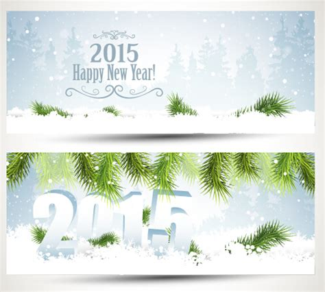 new year 2015 banner vector 2015 happy new year winter banners vector 02 vector