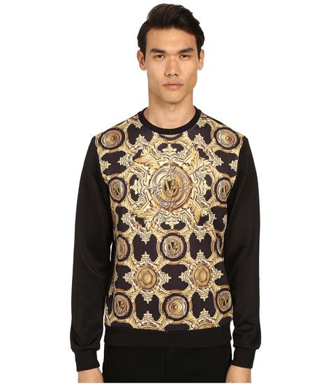 versace baroque medallion print sweatshirt in black