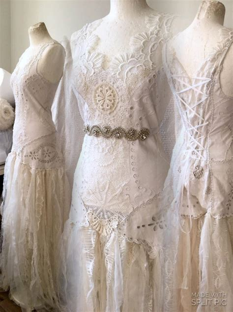 Handmade Wedding Gown - bohemian wedding dress bridal gown lace