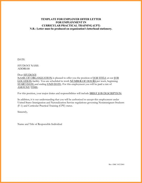 Employment Letter Format For Write Cover Letter Offer Letter Sle Of Offer