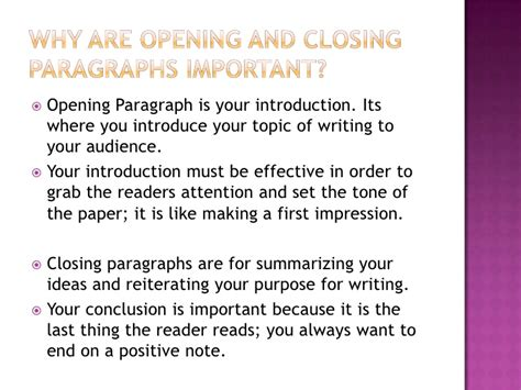 How To Write An Opening Paragraph For An Essay by Writing Effective Opening And Closing Paragraphs