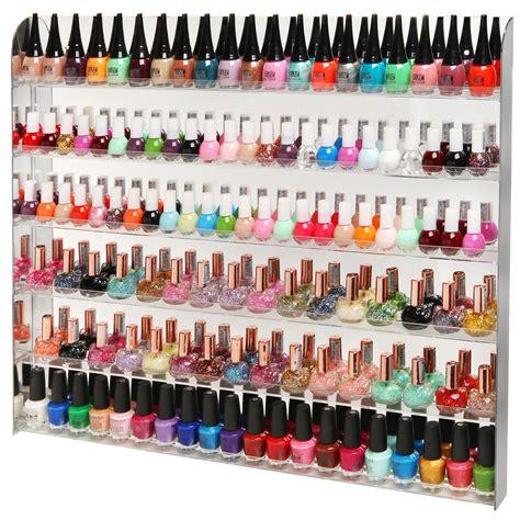 Tempat Kosmetik Lipstick Shelf Acrylic acrylic mirror style 102 bottle wall mounted nail rack salon organizer display w
