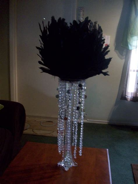 black feather centerpieces feather centerpiece weddingbee photo gallery