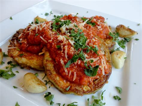 fried parmesan low carb eggplant parmesan with fire roasted tomato sauce