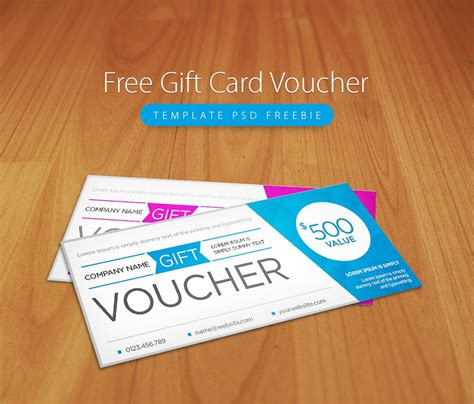 template for coupons the size of gift cards awesome free gift card voucher template psd freebie